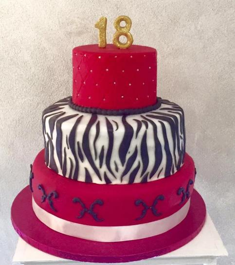 Torta di compleanno in cake design a tema Animalier e Fucsia
