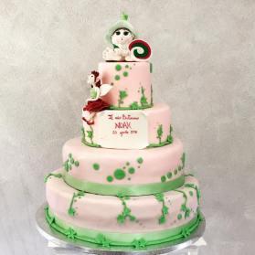 Torta rosa e verde battesimo - baby and kids