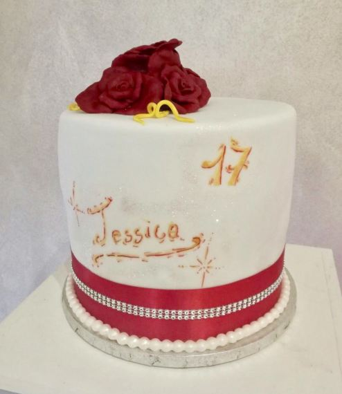 Torta di compleanno in cake design con rose rosee e strass
