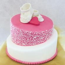 Torta Scarpine rosa battesimo - baby and kids